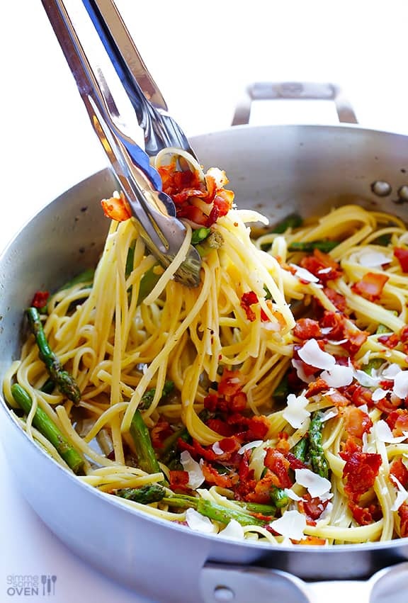 5 Ingredient Asparagus Bacon Pasta