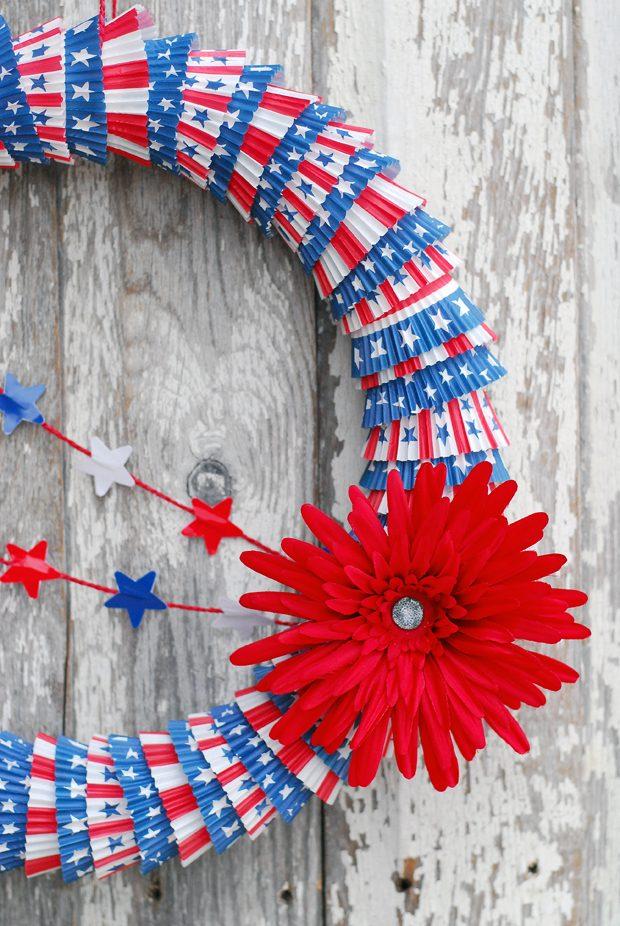 Patriotic Cupcake Liner Wreath