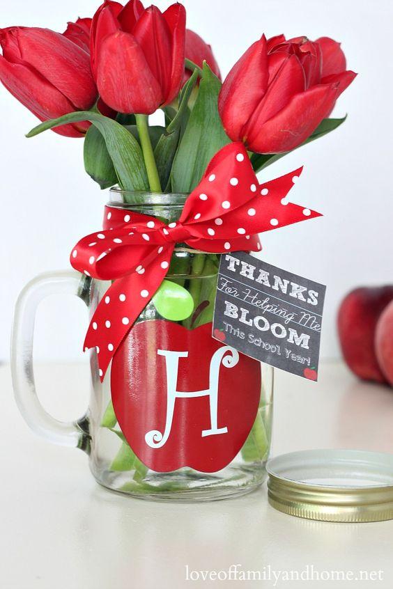Monogram Mason Jar Vase