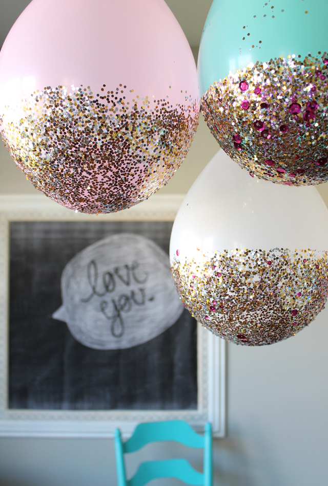 Glitter Dipped Balloons