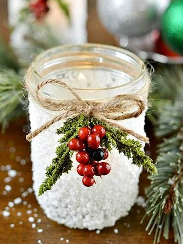 Snowy Mason Jar & 20+ Handmade Gift Ideas for Co-Workers