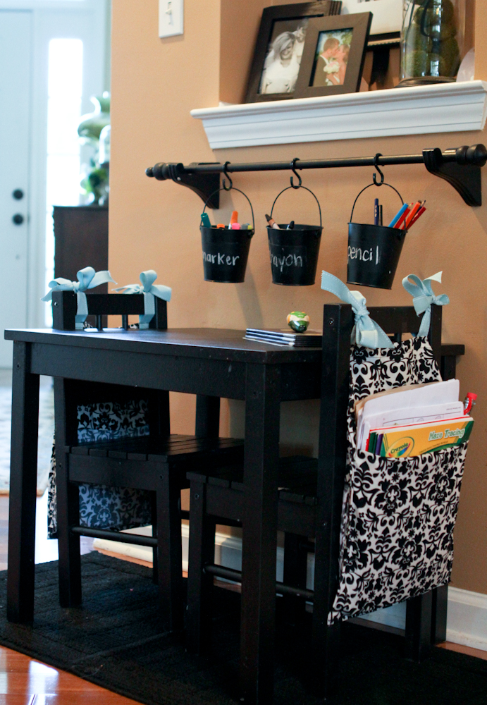 Seat Sacks for Homework Station from Scissors and Spatulas