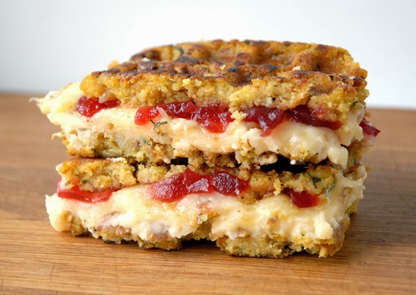 Muenster Mashed Potatoes and Cranberry Stuffing Grilled Cheese