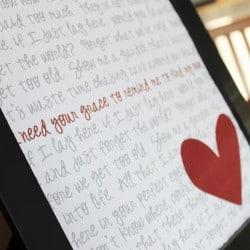 Wedding Song Lyric Art at createcraftlove.com #printables #weddingsonglyricart