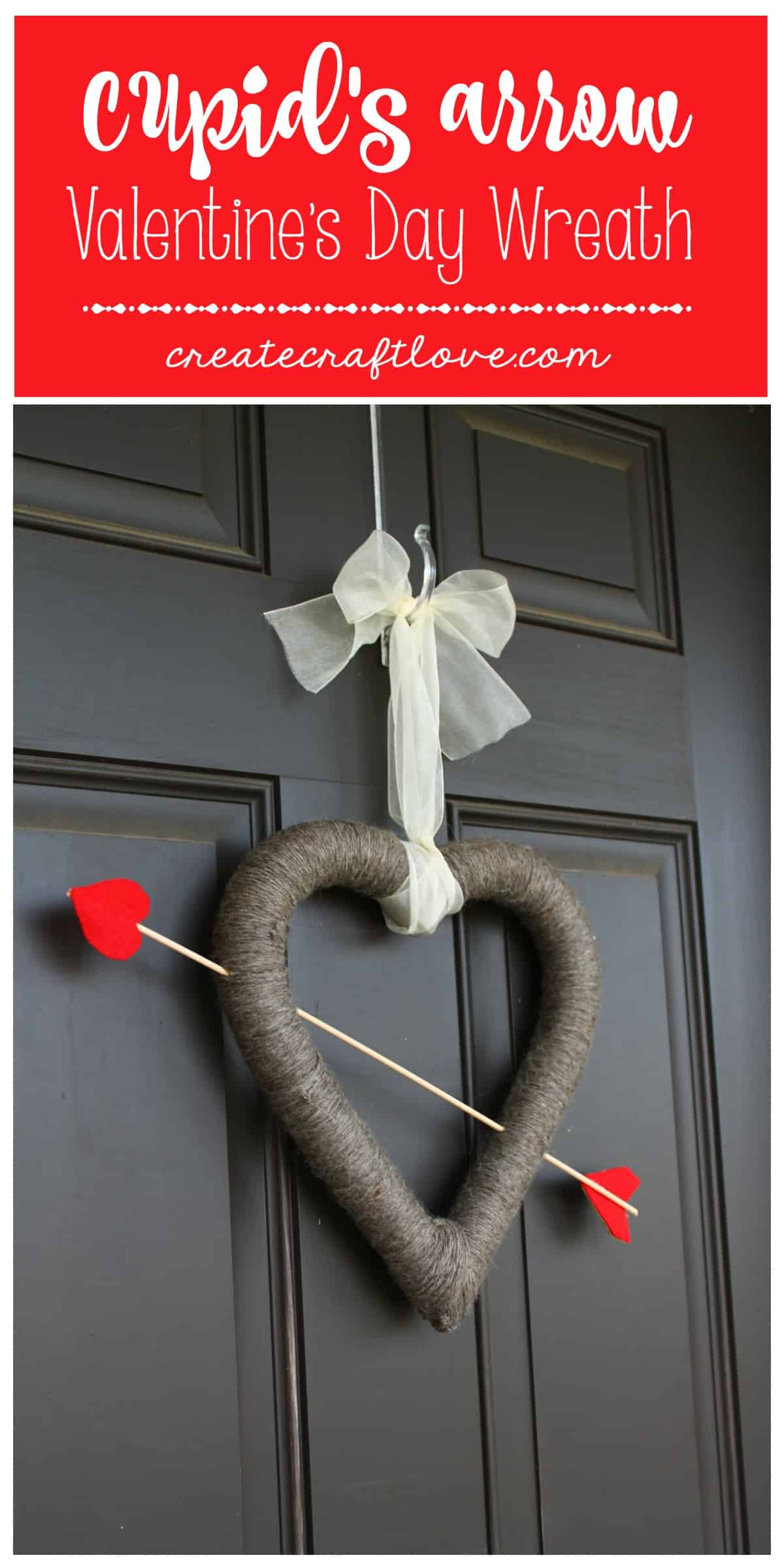 I love the rustic chic look of this Cupid's Arrow Valentine's Day Wreath!