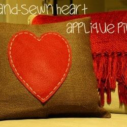 Hand Sewn Heart Applique Pillow via createcraftlove.com #valentinesday #pillow #sewing