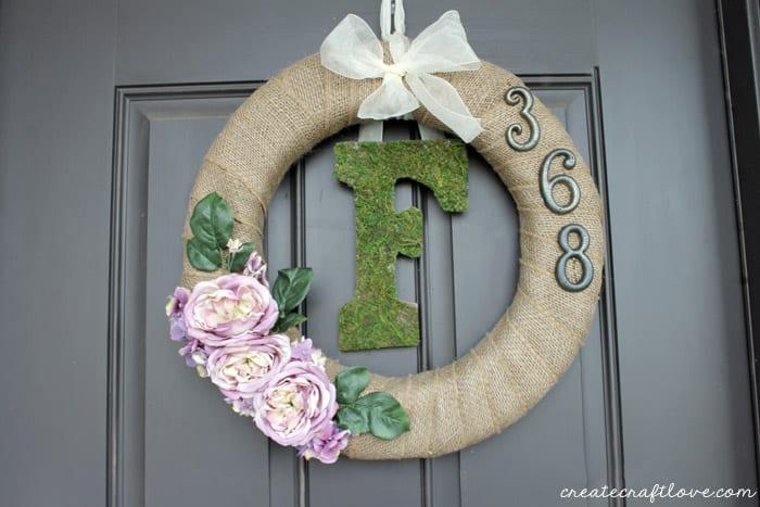 moss monogram spring wreath horitzontal
