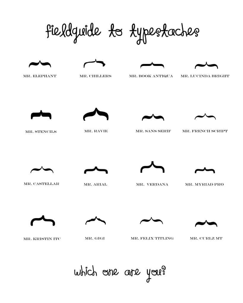 Knock Off Typestache Printable at createcraftlove.com #printables #moustache