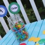 Simple Mason Jar Centerpiece from createcraftlove.com #masonjars #partyideas