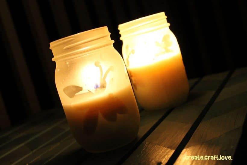 DIY Citronella Candles via createcraftlove.com #candles #citronellacandles #masonjars