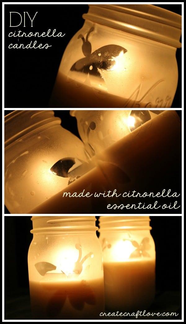 Make your own DIY Citronella Candles using essential oils! via createcraftlove.com