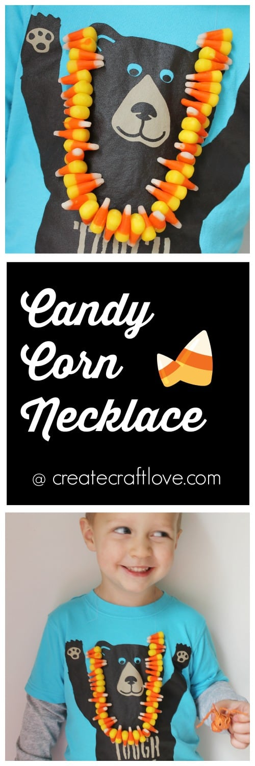Whip up this fun Candy Corn Necklace for the kids! via createcraftlove.com