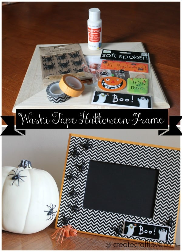 Create your own Washi Tape Halloween Frame!  Tutorial at createcraftlove.com
