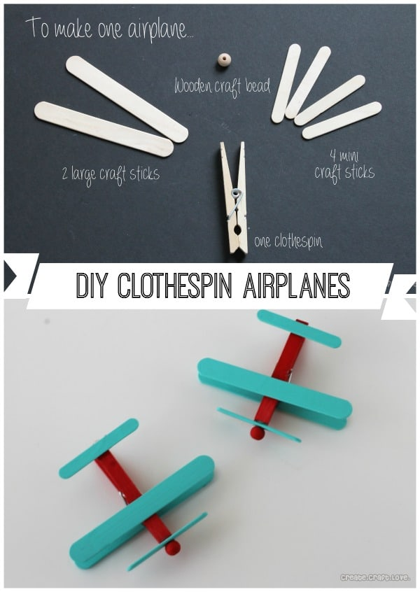 Create your own Clothespin Airplanes with some craft sticks, glue and paint!  www.createcraftlove.com