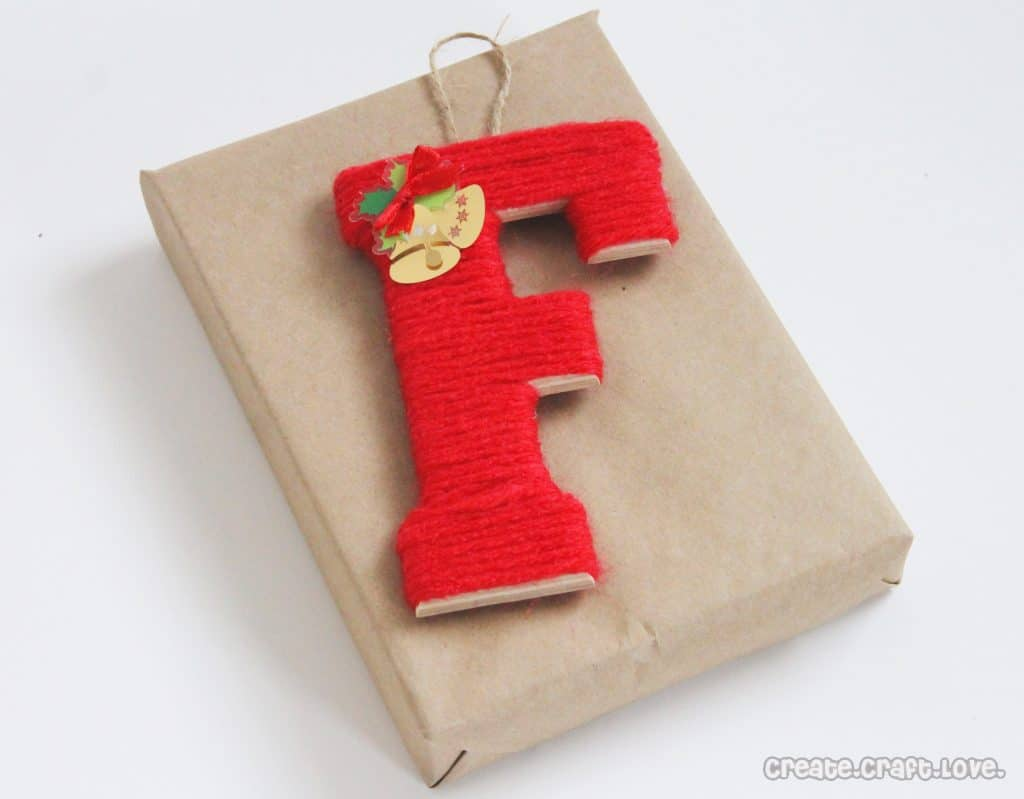 yarn wrapped monogram gift tags