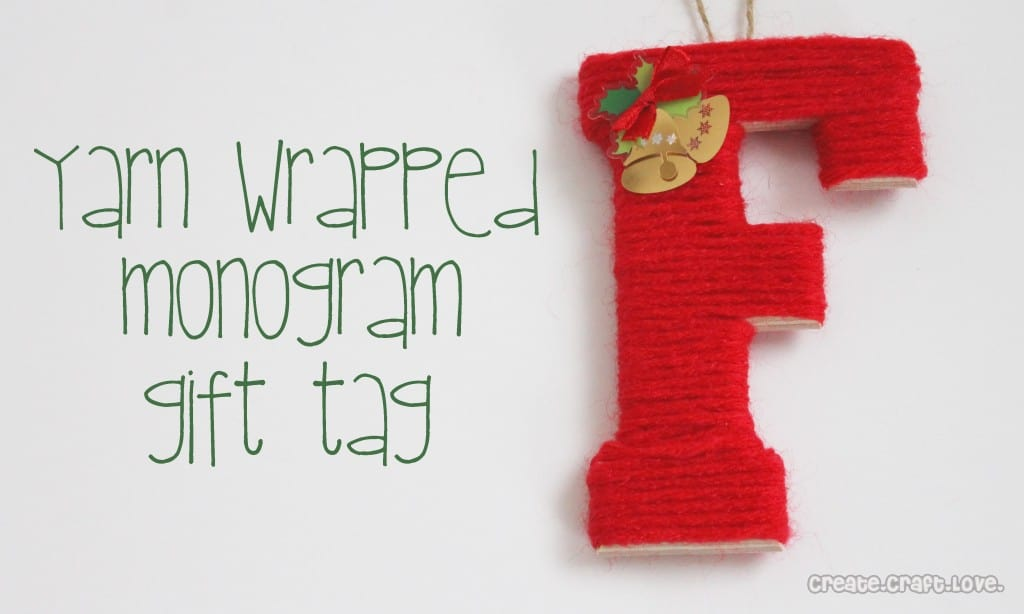 yarn wrapped monogram gift tag