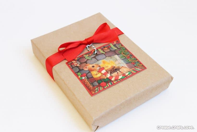 old christmas card gift tags