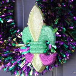 5 Minute Mardi Gras Tinsel Wreath