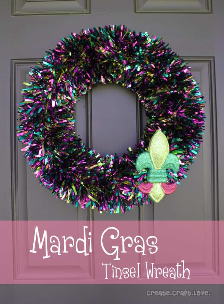 5 Minute #Mardi Gras Tinsel #Wreath at createcraftlove.com