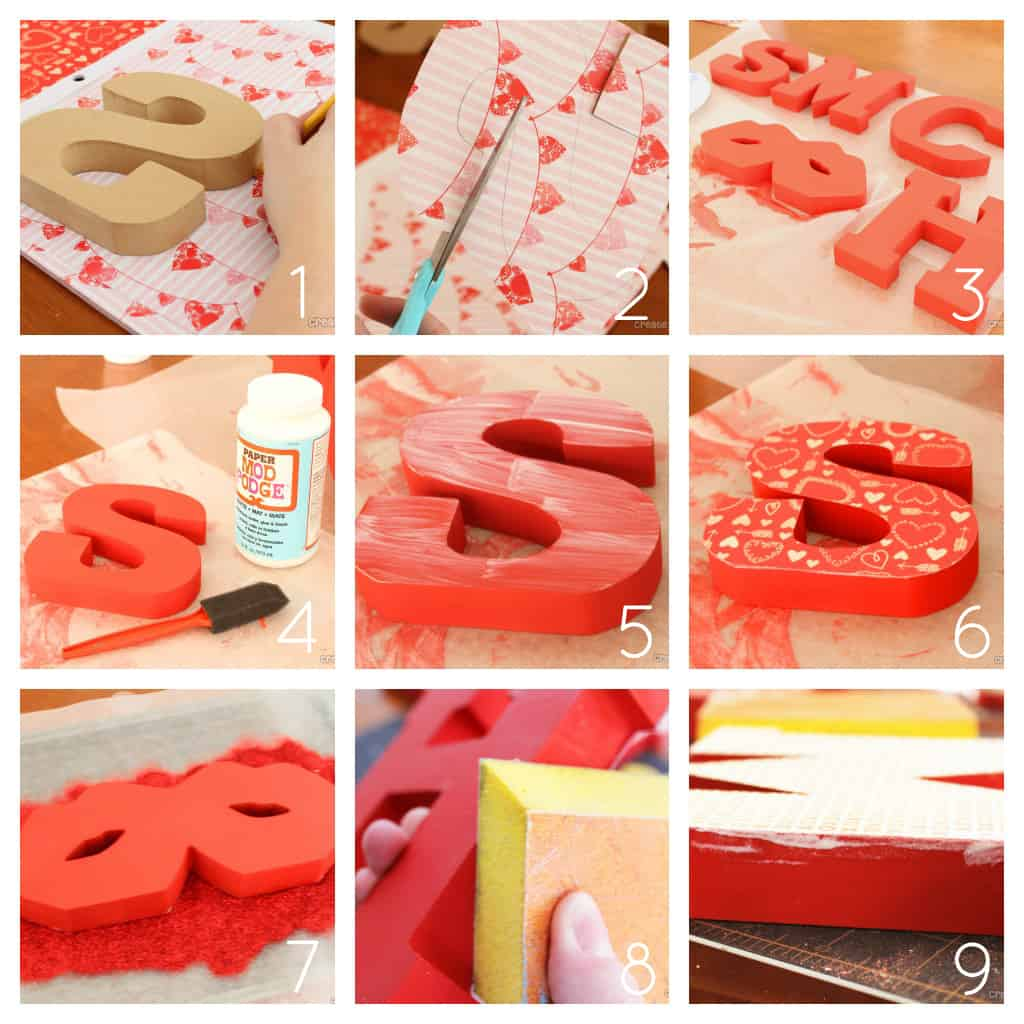 Mod Podge Wooden Letters for Valentine's Day #valentinescrafts #modpodge at createcraftlove.com