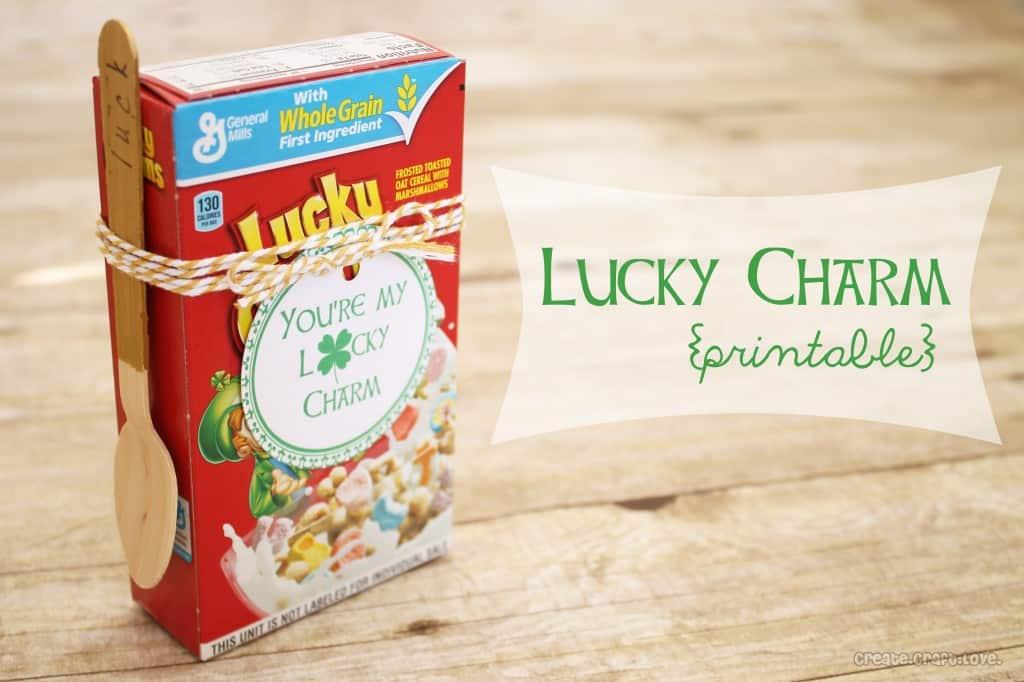 Lucky Charm Printable via createcraftlove.com #stpatricksday #printables