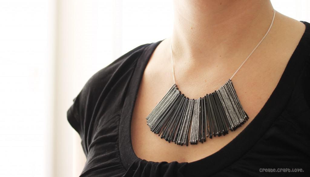 Bobby Pin Bib Necklace via createcraftlove.com #jewelry