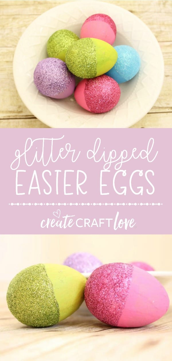 These Glitter Dipped Easter Eggs are so pretty!  #createcraftlove #easter #eastereggs