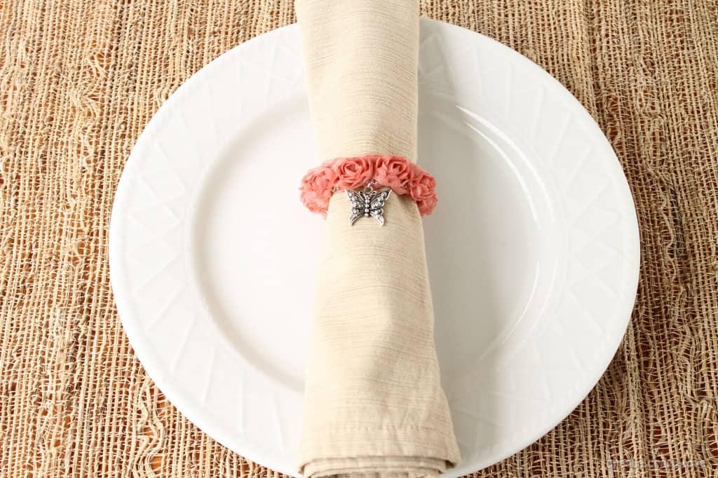 Vintage Rosette Napkin Ring via createcraftlove.com #napkinring #tablescape #spring