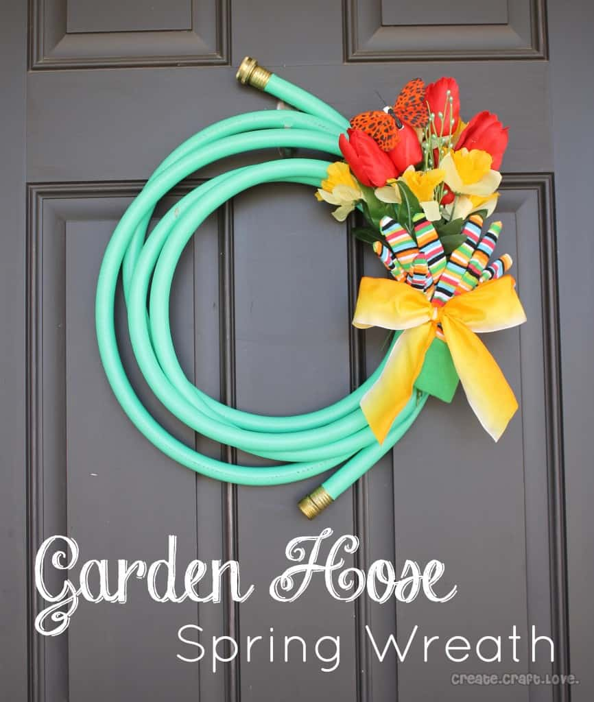 hose spring wreath via spring wreath garden