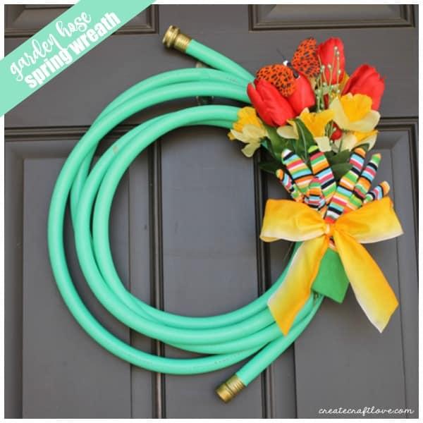 This Garden Hose Wreath screams SPRING!