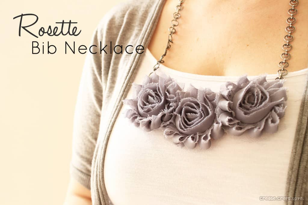 Easy Rosette Bib Necklace via createcraftlove.com #jewelry #rosettes