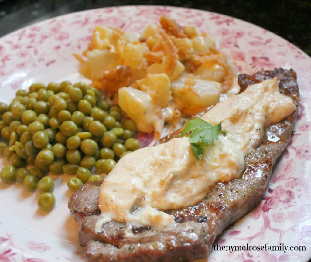 Horseradish-steak-with-cheesy-potato-casserole
