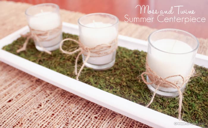 Moss and Twine Summer Centerpiece via createcraftlove.com #summer #centerpiece #moss #candles #twine