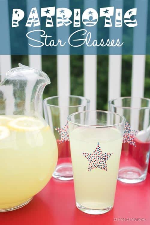 Patriotic Star Glasses from createcraftlove.com #4thofjuly #stars #glasspaint #pointillism