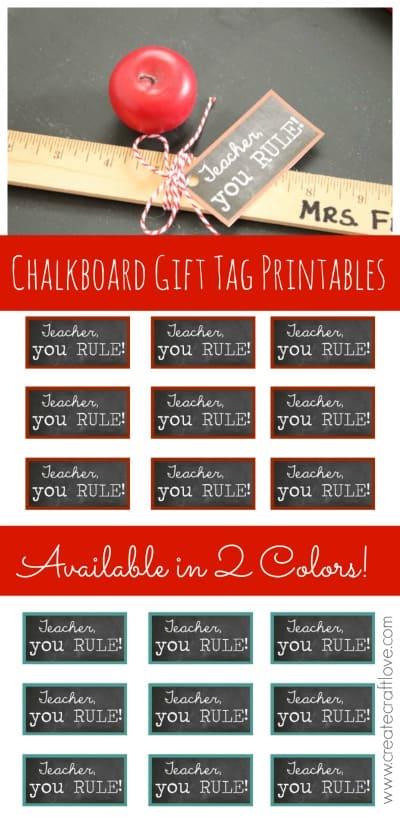 Chalkboard Gift Tag Printables - perfect for Back to School or Teacher Appreciation Week! via createcraftlove.com