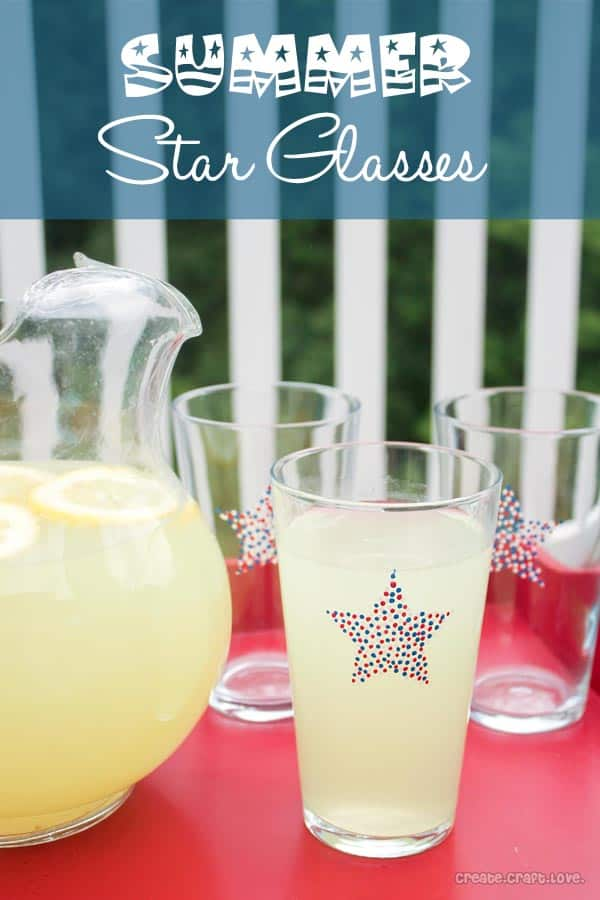 Summer Star Glasses - a fun new addition to your cookout! via createcraftlove.com #glasspaint #summer #4thofjuly #pointillism