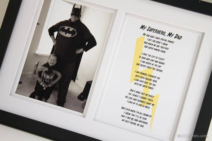 My Superhero, My Dad Poem and Printable - perfect for Father's Day! via createcraftlove.com #fathersday #printable