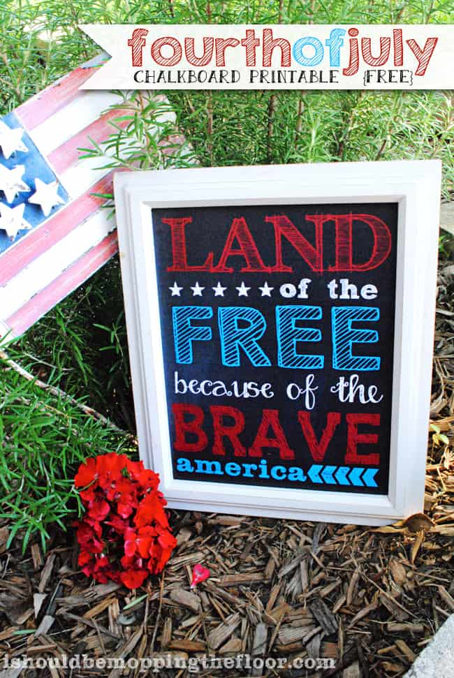 4th of july chalkboard printable