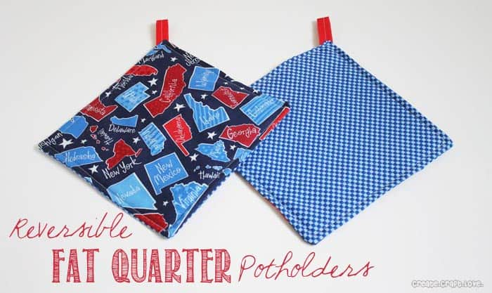 Reversible Fat Quarter Potholders via createcraftlove.com for UCreate #fatquarters #sewing