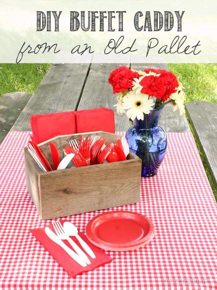 DIY Buffet Caddy from an Old Pallet - full tutorial at createcraftlove.com #DIY #buffetcaddy #powertools #ryobination