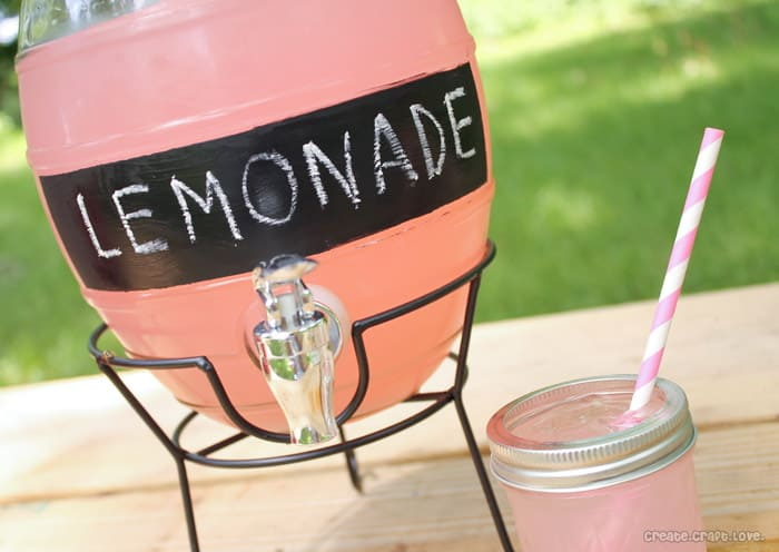 Chalkboard Labeled Beverage Dispenser via createcraftlove.com #chalkboardpaint #spon