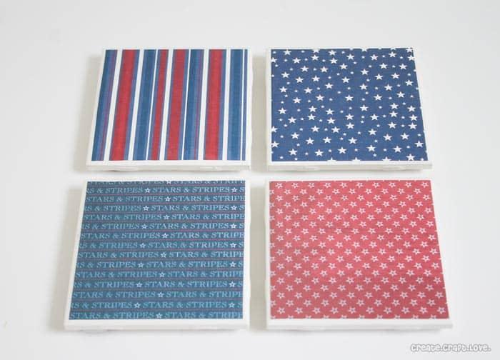 Patriotic Coasters via createcraftlove.com #modpodge #coasters #scrapbookpaper
