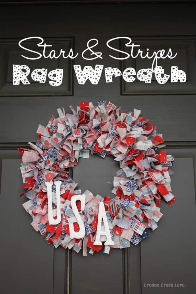 Stars and Stripes Rag Wreath via createcraftlove.com #wreath #ragwreath #fabric #4thofjuly