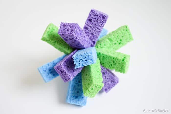 sponge ball fluffed