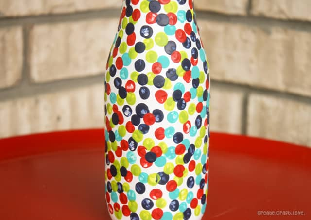 Create this fun Confetti Inspired Painted Vase via createcraftlove.com for the 36th Avenue! #painted #vase #polkadots