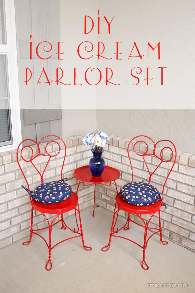 DIY Ice Cream Parlor Set via createcraftlove.com #diy #upcycle #icecreamparlorset #outdoorfurniture