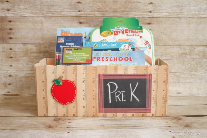 Ruler Basket | Back to School with Michaels via createcraftlove.com #michaelsbts #backtoschool #rulerbasket #giftideas