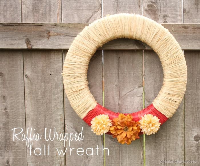 Raffia Wrapped Fall Wreath via createcraftlove.com #fall #wreath