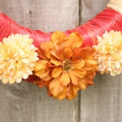 Raffia Wrapped Fall Wreath via createcraftlove.com #fall #wreath