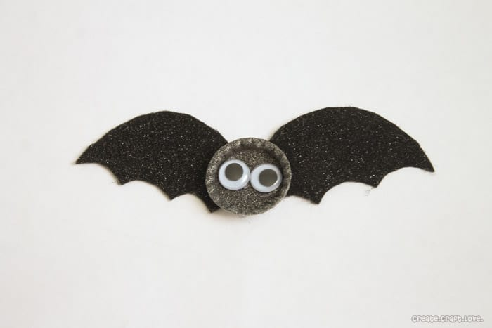 bottle cap bats with googly eyes